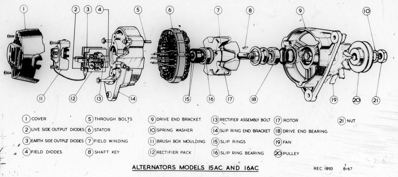 Lucas Factory Museum Alternators Parts Diagram Alternator Mounting Assembly Drawings Alternatorcross Alternatorparts