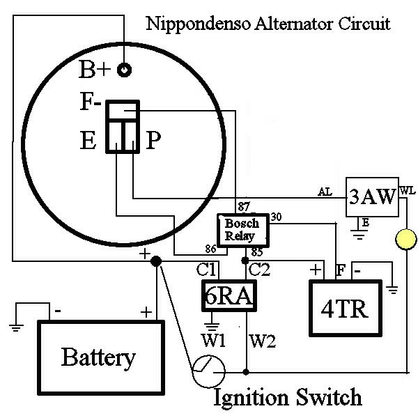 nippondenso alternator wiring diagram & nippondenso alternator nd alternator wiring diagram nippondenso alternator requires an extra relay to disconnect the field circuit